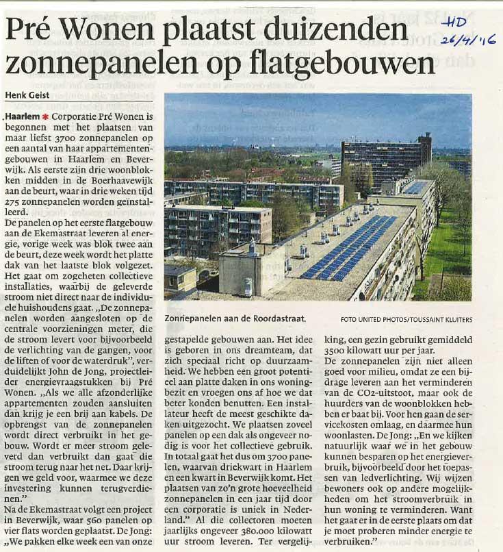 Haarlems Dagblad, plaatsen zonnepanelen in Haarlem door Pré Wonen